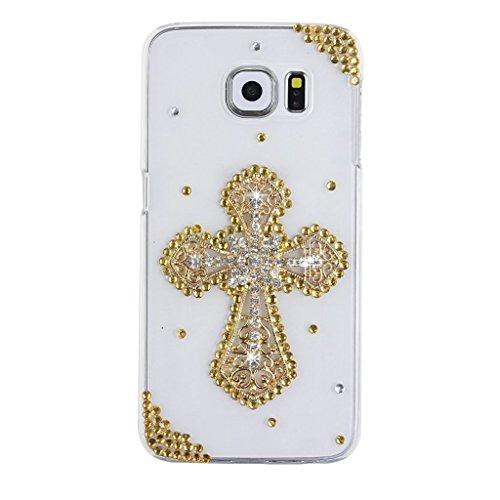 Evtech (TM) Golden Cross diamante perline strass Bling Bling Fashion Style trasparenza della cover cellulare custodia per Samsung Galaxy S6Edge Plus Samsung Galaxy S6Edge + (100% Handcrafted)