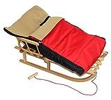 FKL Holzschlitten mit Rückenlehne und Kissen, Schlitten Sitzfläche Kinderschlitten Schlitten Rodeln Zugseil Fußsack Wolle Polar (Rot, mit Polarfußsack)