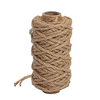 Tenn Well 4mm Natural Jute Twine, 66 Feet Strong Jute String Rope for Gardening, Bundling, Gifts, Decoration and DIY Crafts (Brown)