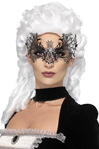 Smiffy's 44280 - Augenmaske Netz der en Witwe Metallfiligran, schwarz