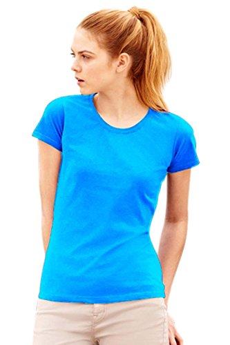 Maglietta Maniche Corte Sagomata Donna Fruit Of The Loom T Shirt Cotone Lady Fit, Colore: Azzurro, Taglia: M