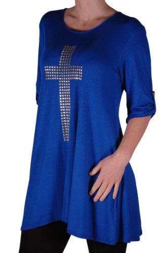 Eyecatch TM Plus - T Shirt croix gothique oversize col rond - Femme Bleu Royal