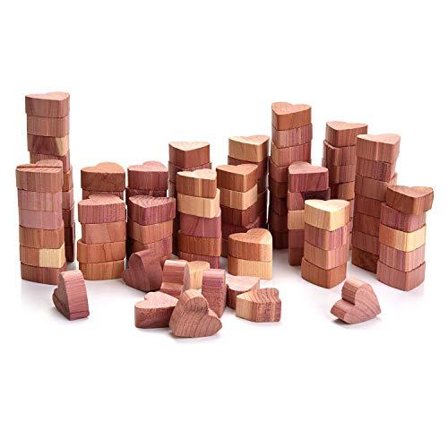 Yizhet 100 Antitarme Legno di Cedro Blocchi di Cedro a Forma di Cuore Legno di Cedro Combo Pack Antitarme Naturale in Legno di Cedro per Armadi e Cassett