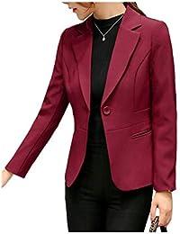 26c5e23c5c8ad Veste De Costume Femme Mode Vintage Classique Uni Manche Manteau Casual  Dame Printemps Office Affaires Automne Blazer Elégante…