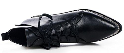 ELEHOT Femme Eleaspect Plat 4CM souple Bottes Noir