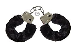 AECTM Soft Steel Fuzzy Furry Cuffs Working Metal Handcuffs For Theme Party Supplies & Role Play (Black)