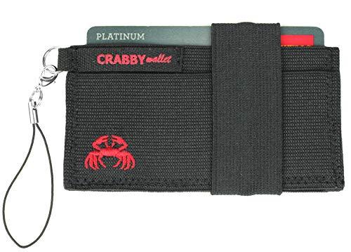 Crabby Wallet V2, Kleiner dünner praktischer Geldbeutel, Geldbörse, Portemonnaie, Brieftasche, Slim Wallet, 10,5 x 5,5 x 0,5 cm (schwarz)