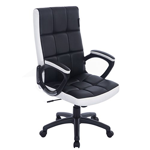Cherry Tree Furniture Waffle Contrasting Panels High Back PU Leather Swivel Executive Office Chair in 2 Colours (Black & White)