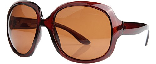 Sakkas GA4565 Retro Oversized Frame Fashion Sonnenbrille - Brown Polarized -Brown Linse
