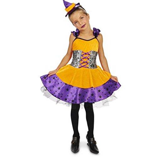 kleine Hexe Orange Purple Witch Kinder Mädchen Fasching Halloween Karneval Kostüm (92-104)