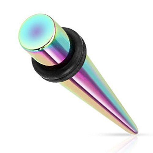Piercing écarteur rainbow en titane sur acier chirurgical 316L avec O Rings rainbow Taille 10 mm