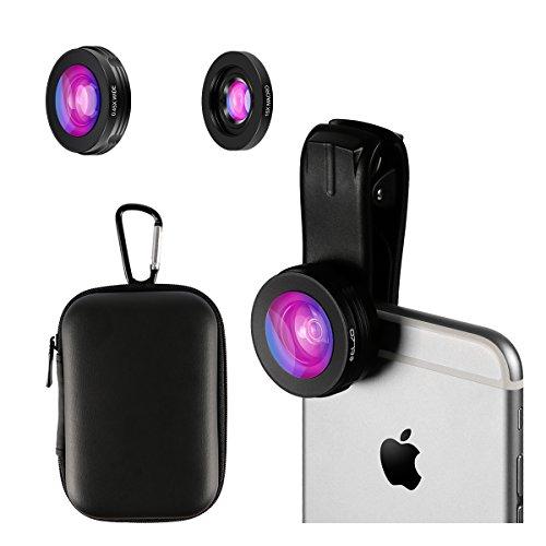 ELZO Lenti per Cellulare 2 1 Lenti Smartphone Clip On Fisheye e 045X Lente Grandangolo 120°+ Lente Macro 15X per iPhone X / 8/8 Plus / 7/7 Plus