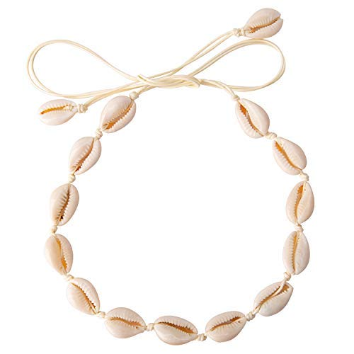 Kostüm Joker Verschiedene - LUTER Natural Shell Choker Shell Necklace Shell Halskette Handgemacht Einstellbare Muscheln Schmuck Böhmische Hawaii Beach Stil Ideal Geschenke für Mädchen und Damen