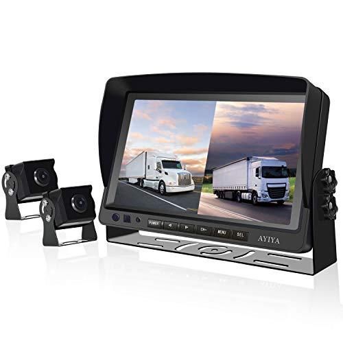 """Dual Recording Rückfahrkamera-Set, mit 9\"""" Split IPS LCD Kfz-Monitor, 2 * 175° Weitwinkel - Rückfahrkameras, HD Farbe Nachtsicht, für LKW/Anhänger/Bus/Van/Landwirtschaft(12-35 Volt)"""