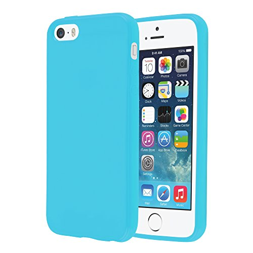 Cadorabo - TPU Ultra Slim Jelly Silikon Hülle für >               Apple iPhone 5 / 5S / SE               < - Case Cover Schutz-Hülle Bumper in JELLY-SCHWARZ JELLY-HELL-BLAU