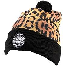 Bonnet à Pompon Hype Leopard et Noir - Mixte