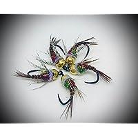 Máximo Clini Color Pheasant Tail UV collar, (Pack de 9artificiales Tre para tamaño y peso, costruita sobre anzuelos Barbless cecoslovacchi, conforme al FPersV FIPS Mouche