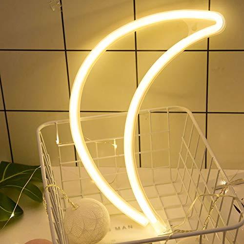 Etohigh Neon Mond LED Lampe Wanddeko, Nachttischlampe, Neon Lichter, Batterie und USB-Powered Lampen für Schlafzimmer Dekorationen, Geburtstag Party, Wohnzimmer, Hochzeit Party, Feiertag (Usb-powered-licht)