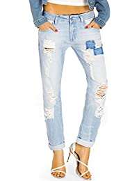 Bestyledberlin Damen Mom Jeans, Boyfriendjeans zerrissen, Destroyed Loose Fit Hosen , Baggy Style Jeanshosen Used Look j51f