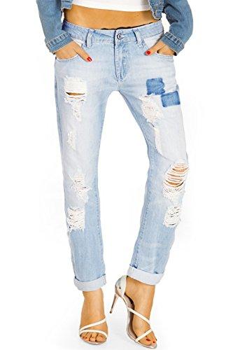 Bestyledberlin Damen Mom Jeans, Boyfriendjeans zerrissen, Destroyed Loose Fit Hosen , Baggy Style Jeanshosen Used Look j51f 36