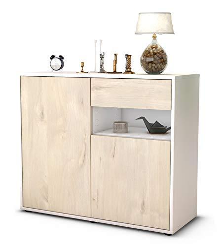 Stil.Zeit Sideboard Charlotta/Korpus Weiss matt/Front Holz-Design Zeder (92x79x35cm) Push-to-Open Technik & Leichtlaufschienen