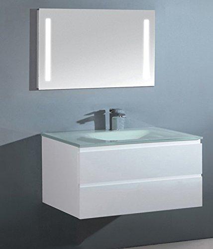 Luxus Badezimmermöbel Badmöbel bestehend aus Unterschrank, Waschtisch aus Glas,und LED-Spiegel mit Beleuchtung (70 cm)