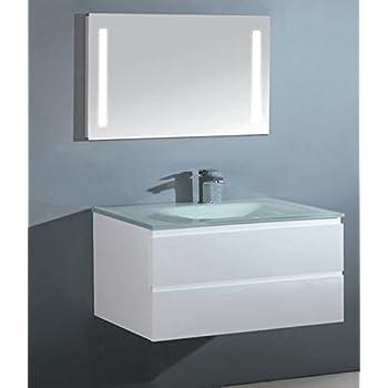 stai luxus badezimmerm bel badm bel bestehend aus unterschrank waschtisch aus glas und led. Black Bedroom Furniture Sets. Home Design Ideas