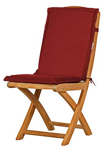 2 x Bordeauxrote Sitzauflage für Garten-Stühle & Klappstühle 88 x 40 cm ✓ Premium Pol