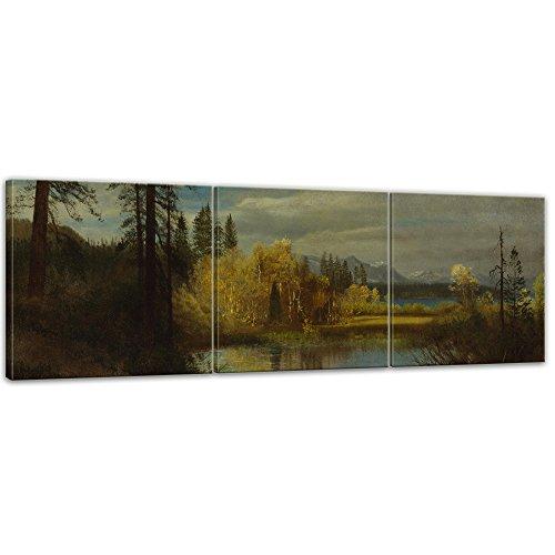 Wandbild Albert Bierstadt Outlet at Lake Tahoe - 180x60cm Panorama mehrteilig quer - Alte Meister Berühmte Gemälde Leinwandbild Kunstdruck Bild auf Leinwand