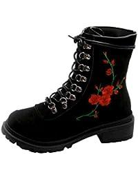 Martin Stiefel Damen Schuhe Sonnena Ankle Boots Frauen Herbst Winter Flache  Heel Plateau Stiefeletten Blume Stickerei ad3f210494
