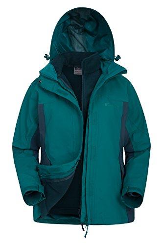 Mountain Warehouse Storm Wasserfeste 3-in-1-Jacke für Damen - Viele Taschen, abnehmbare Fleecejacke für Damen, Regenjacke - Ideal für alle Jahreszeiten bei kaltem Wetter Grün DE 40 (EU 42)