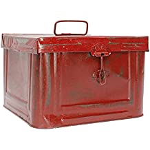 Caja Metálica Decorativa estilo Industrial Vintage color Rojo, 23 x 23 x h16 cm - FRANCISCO SEGARRA
