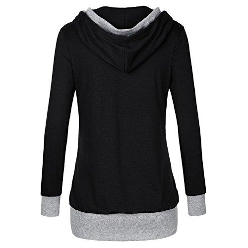 Kootk Femmes Pullover Hoodies Chemise Décontractée Svelte En forme Encapuchonné Sweatshirt V Cou Cavaliers Chemises Longue Manche Tops Noir Gris Bleu rouge M - XXL Noir