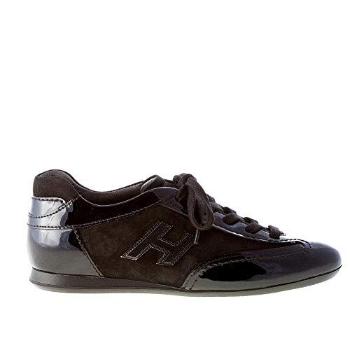 Hogan Donna Olympia Sneaker in Pelle Verniciata più camoscio Nero Color Nero Size 36