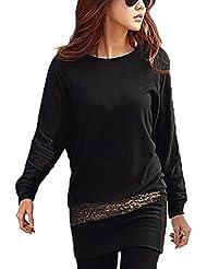 DJT Femme Tunique Style Japon T-shirt longue Pull-over Taille Brillante Blouse