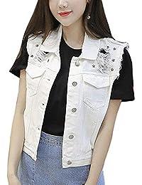 Chaleco Vaqueros Mujer Sin Mangas Chaquetas Elegante Moda Casual Ropa Cómodo  Moderno Chaquetas De Mezclilla Vest Primavera… 1cecd9ebb58e