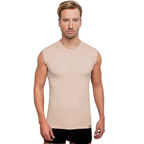 Schaufenberger Top O-Ausschnitt, Hautfarbe, ärmelloses Unterhemd Rundausschnitt, Größe S - Unterhemden Für ärmellose Männer