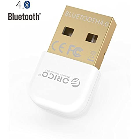 Adattatore USB Bluetooth 4.0, Orico USB Bluetooth Dongle USB, Bluetooth 4.0 trasmettitore ricevitore adattatore per PC con Windows XP/Vista/7/8/8.1/10 (32/64bit), colore: bianco