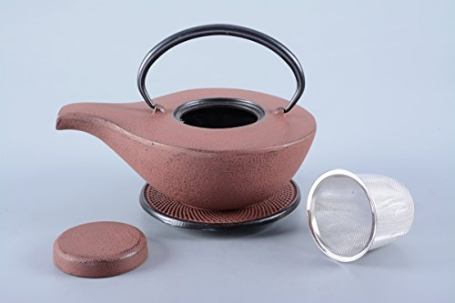 Gusseisen Teekanne / Kanne Ahiru 0,8l in antik rot inklusive Edelstahlsieb und Untersetzer