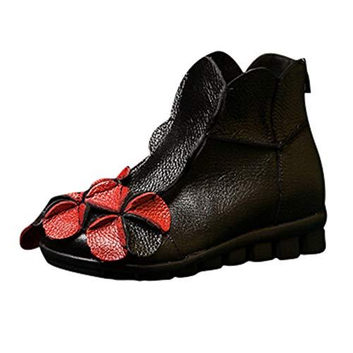ähte Blumen Schuhe Ethnischen Stil Stiefel Leder Casual Stiefel ()