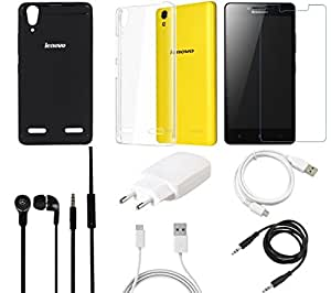 NIROSHA Tempered Glass Screen Guard Cover Charger Headphone / Hands Free USB Cable for Lenovo A6000 - Combo