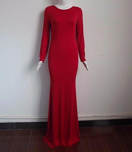Neck femmes Retour col V a manches longues en coton ronde jupe longue robes solide de couleur Rouge