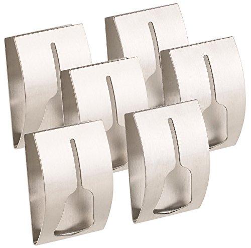 Carlo Milano Tür-Handtuchhalter: 6er-Set Handtuchhalter aus rostfreiem Edelstahl, selbstklebend (Selbsthaftende Handtuchhalter)