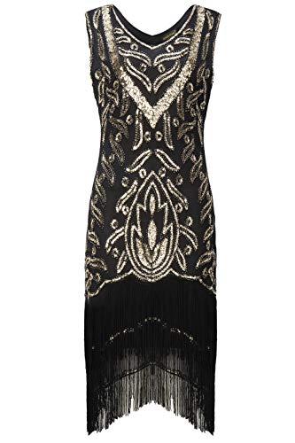 Coucoland 1920s Kleider Damen Retro Pailletten Kleid mit Troddel V Ausschnitt Great Gatsby Cocktail Party Kleider Damen Fasching Charleston Kostüm Kleid (Gold Schwarz, M)