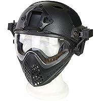 Overrall táctico casco con gafas máscara para ciclismo Paintball Airsoft Wargame, color BK, tamaño Medium