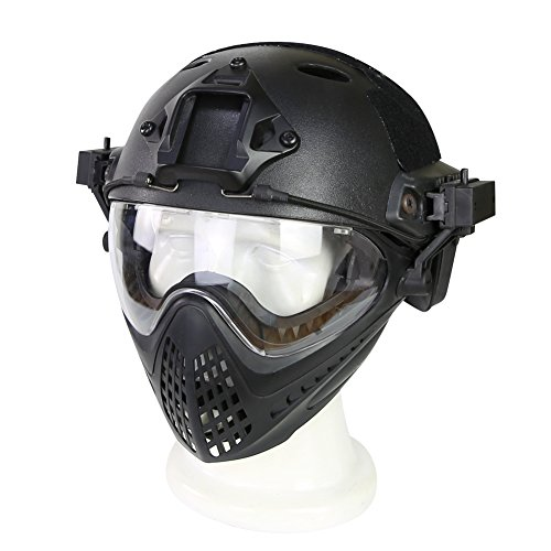 Hunting Explorer Taktischer Helm mit Maske für Militär Airsoft Paintball Armee WarGame Motorrad Radfahren Jagd
