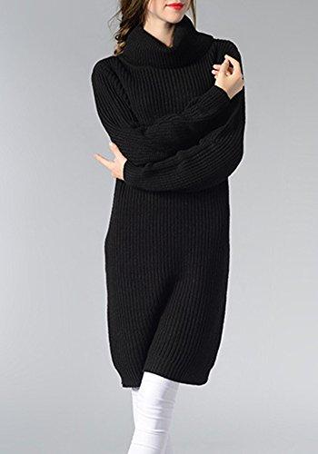 Maglione Donna Lunga Maglioni Maniche Lunghe Pullover A Collo Alto Vestiti In Maglia Nero