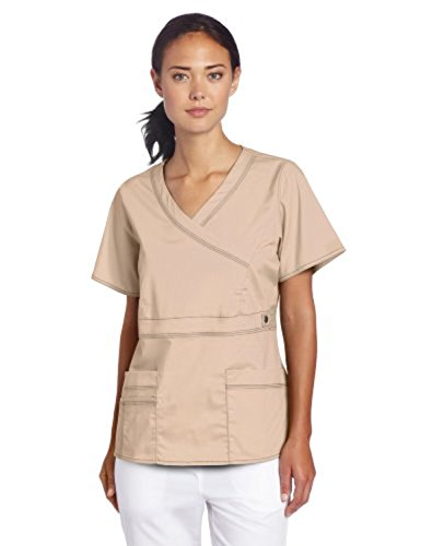 Dickies Scrubs Women's Gen Flex Junior Fit Contrast Stitch Mock Wrap Shirt, Khaki, XX-Large (Dickies-gen-flex-scrubs)