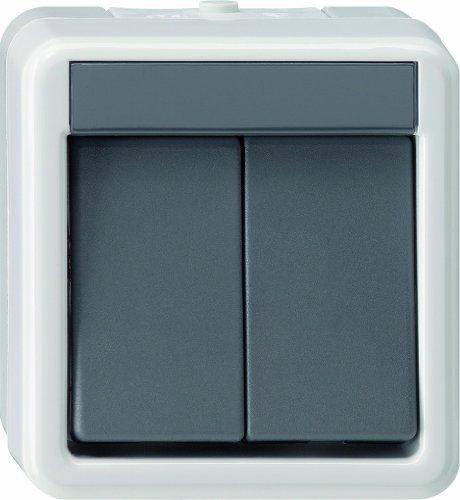 Gira 10530 Wippschalter 010530 Serienschalter WG AP grau, 250 V, Schwarz, Weiß