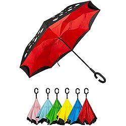 Golden Lemur Paraguas Invertido. Paraguas Originales Mujer y Hombre de Colores. Grande, para Coche Antiviento. Doble Capa, Reversible, Abre al Revés Asa Manos Libres Funda Garantia Calidad Flores Rojo